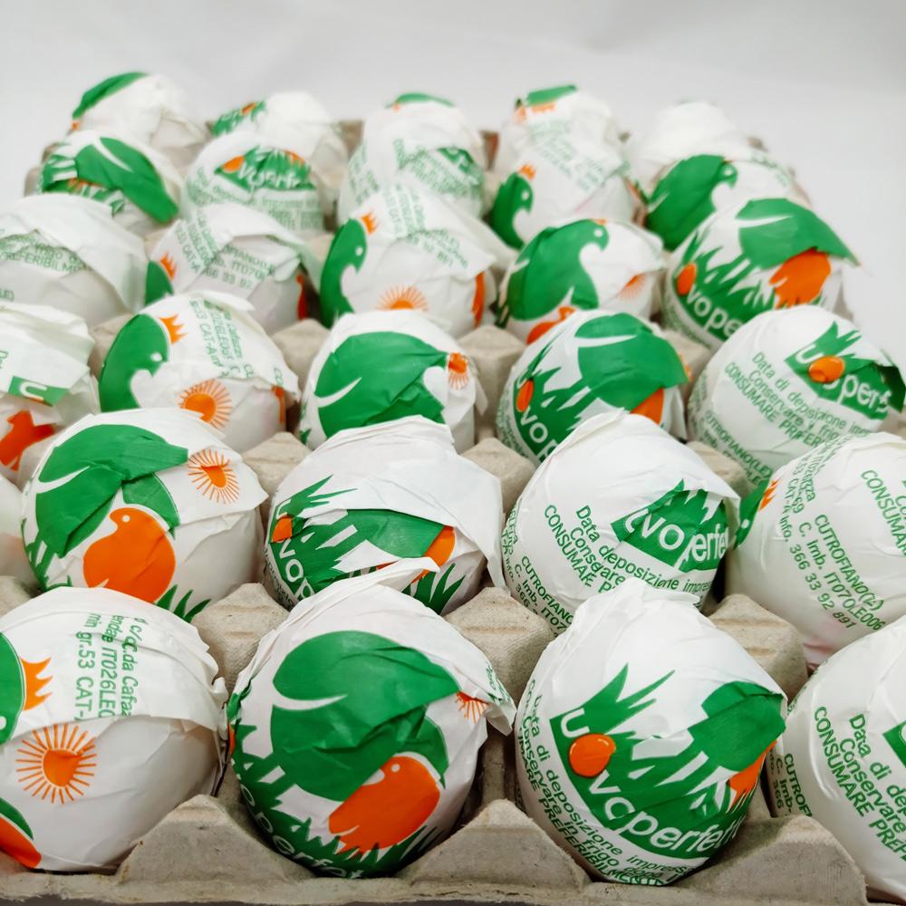 Le uova dell'allevamento Uovo Perfetto sono spedite in plateau o vendute sfuse