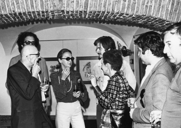 Henry Michaux (left) in his opening exhibition, July, 1973