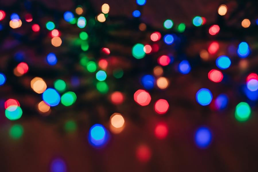 Holiday lights out of focus.