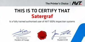 Nuevo certificado de calidad otorgado por AVT