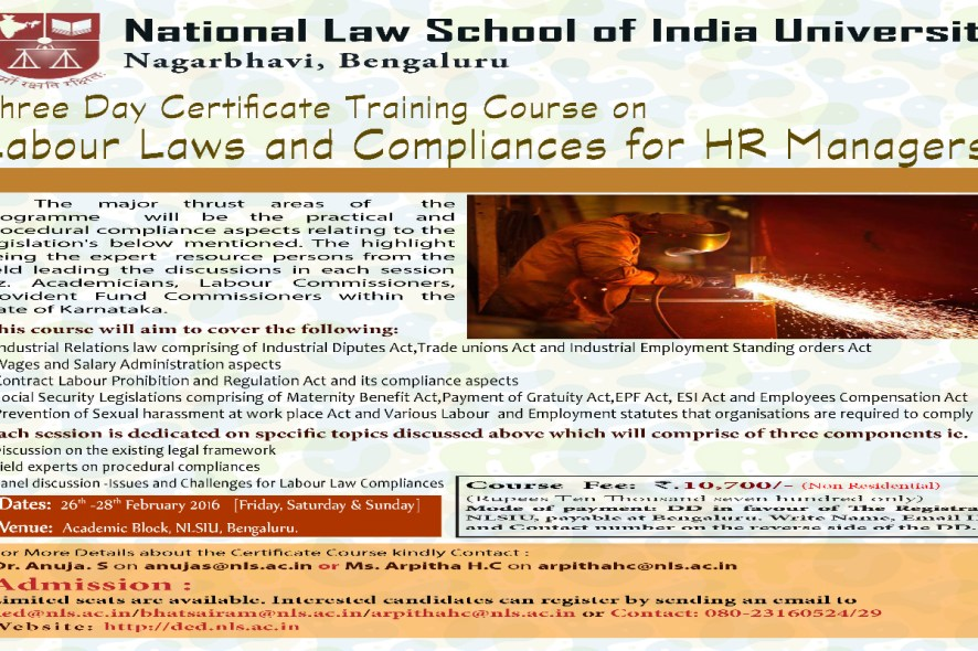 Three Day Certificate Training Course On Labour Laws And Compliances