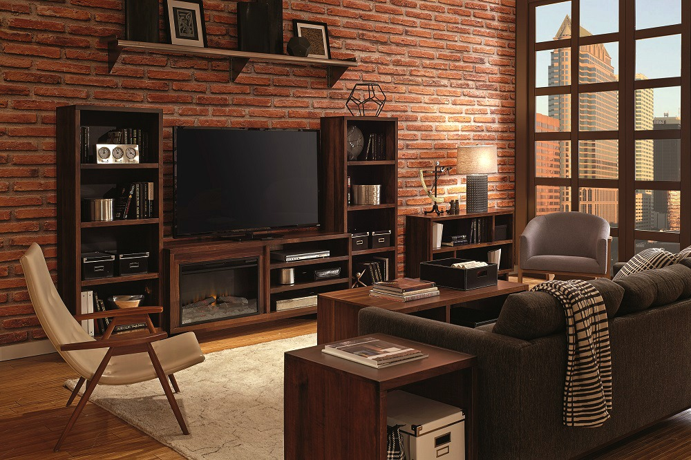 Urban loft space with a fireplace media console as the focal point.