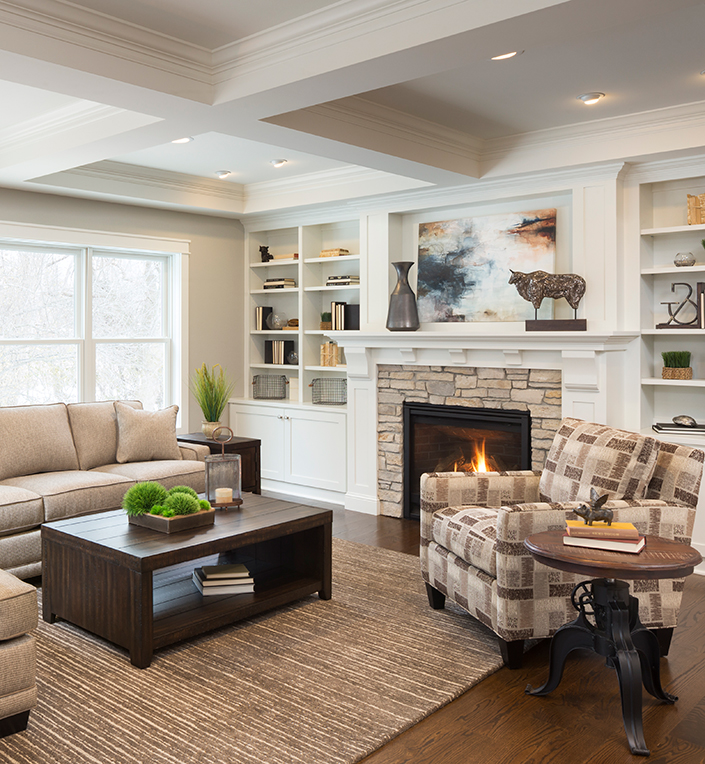 relaxed transitional space - living room in neutrals