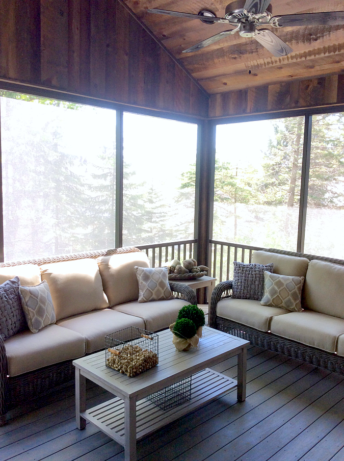 Twin Cities Artisan Home Tour. Love the screened in porch with rustic ceiling AND the furniture of course!