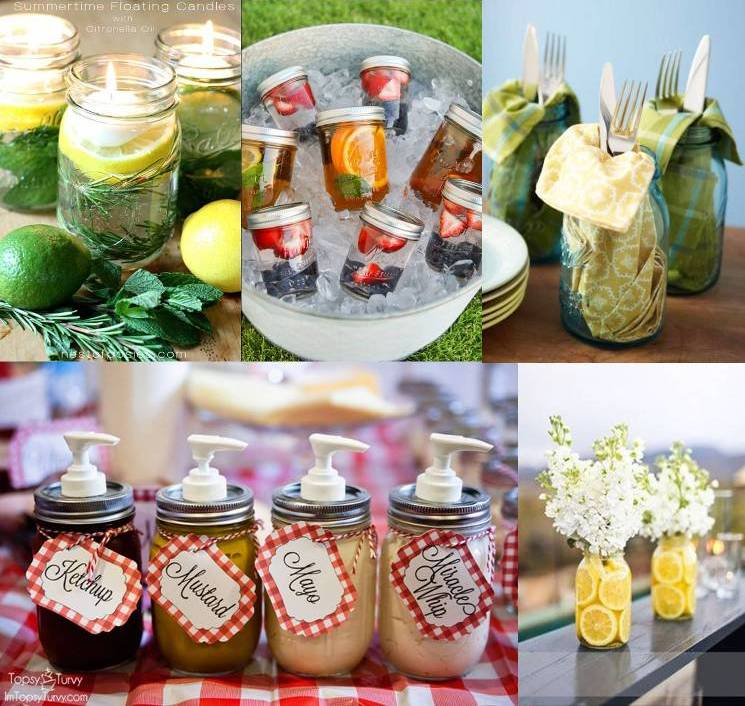 Mason Jars for Outdoor Entertaining - Links to image sources in blog post