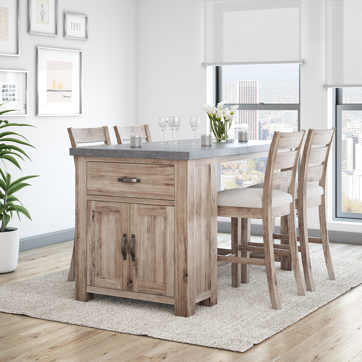 Small space dining room with multi-tasking bar table with storage