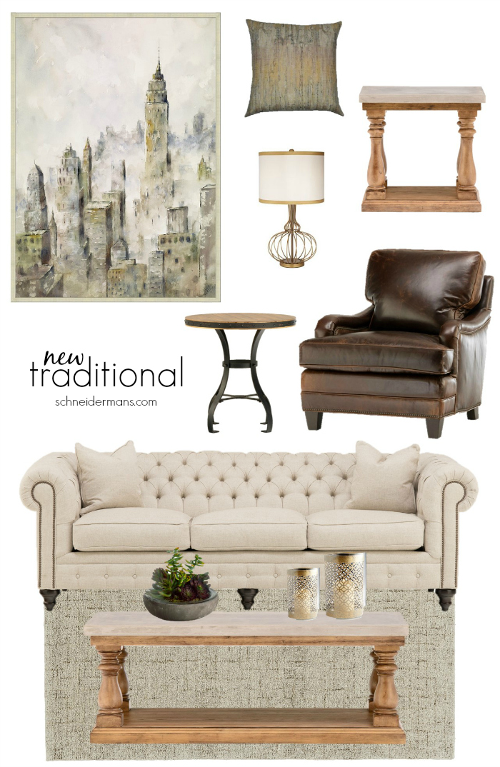 This new traditional living room is pretty but not too much so and has an interesting mix of textures