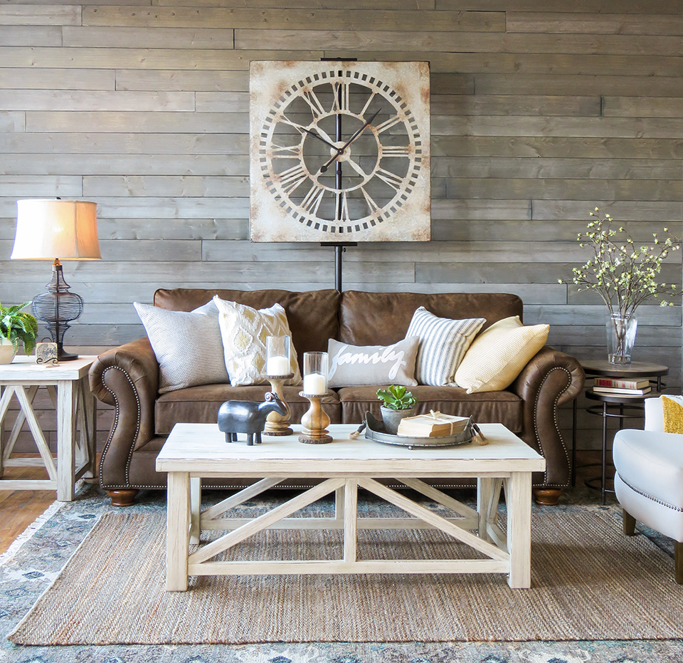 A Farmhouse Living Room That Will Make You Want A Brown Sofa Schneiderman S The Blog Design And Decorating