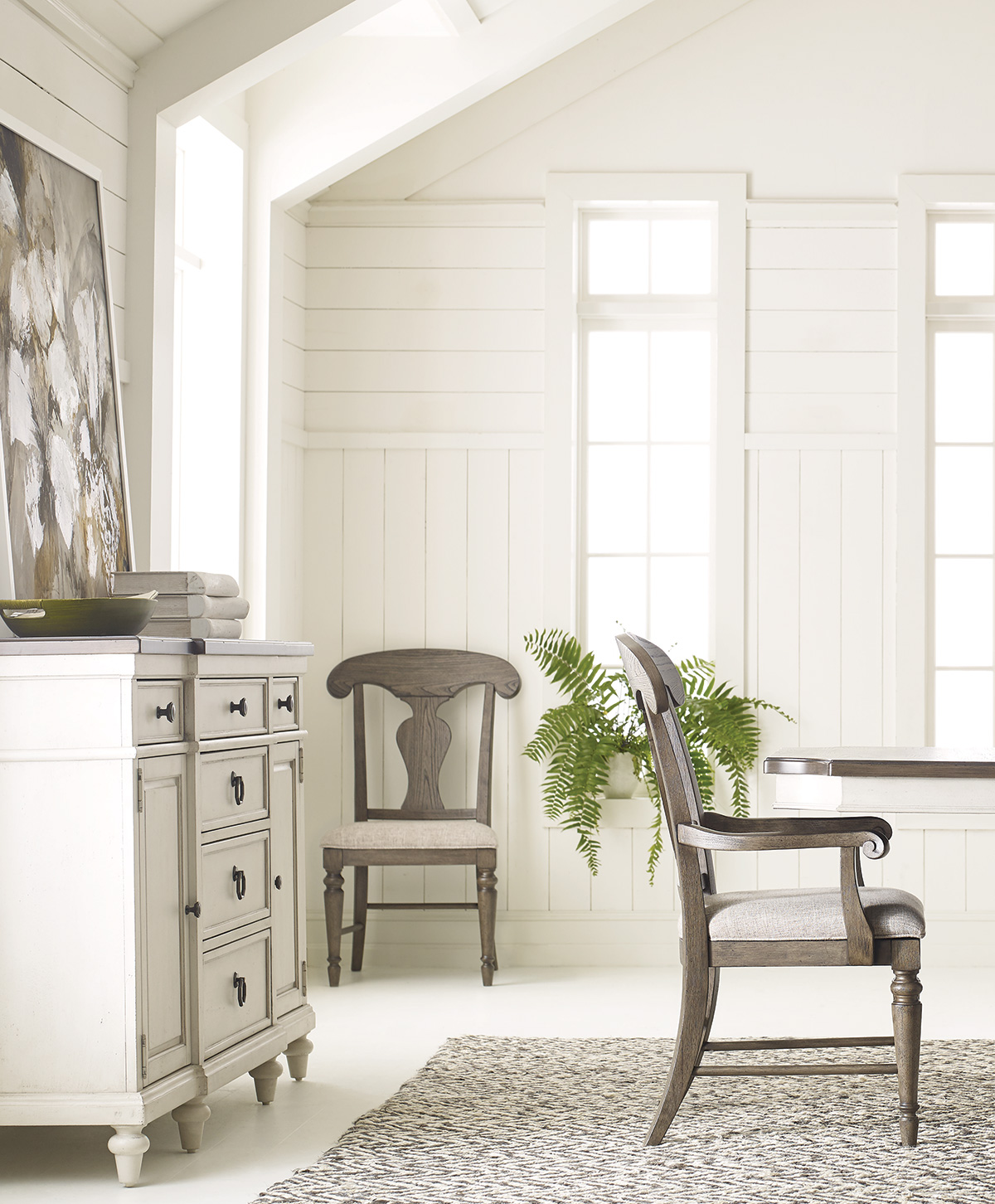 Dining room storage with a traditional farmhouse style