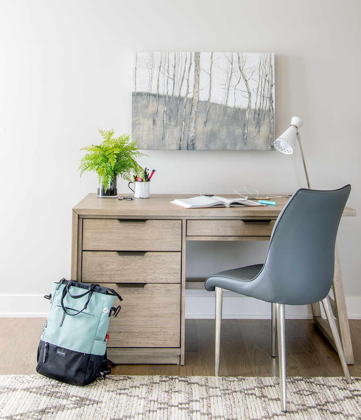 Rustic modern home office desk - love this fresh neutral space!