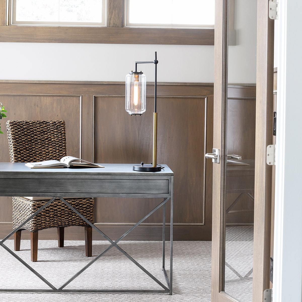 new traditional home office desk - love the metal and interesting design details!