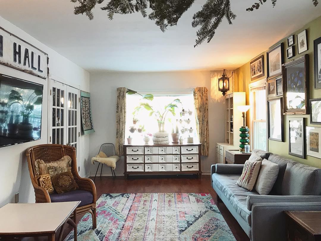 Eclectic vintage boho style living room
