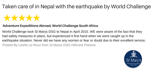 Taken Care of by World Challenge South Africa in the Midst of Earthquake