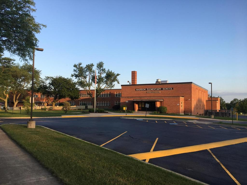 Madison Elementary School in the evening. This campus is home to one of the best elementary schools in the Chicago suburbs.