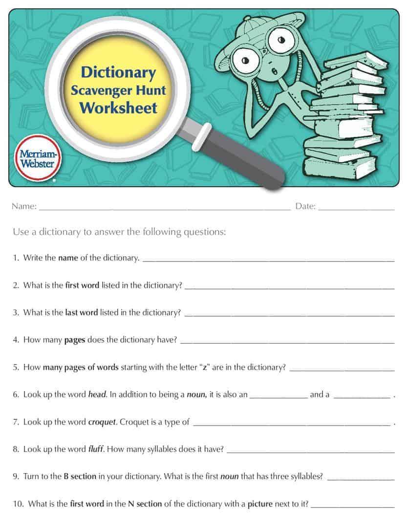 Dictionary Scavenger Hunt Worksheet Worksheets For School