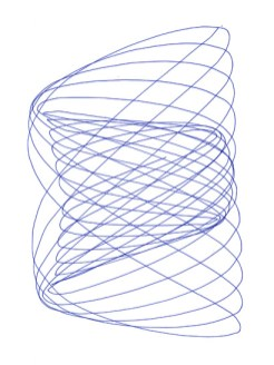 Another prototype drawing, with a thinner felt pen that produces less friction. This reduces the dampening of the oscillation, but note the kinks in the lines created by the thin pen jiggling in the holder.