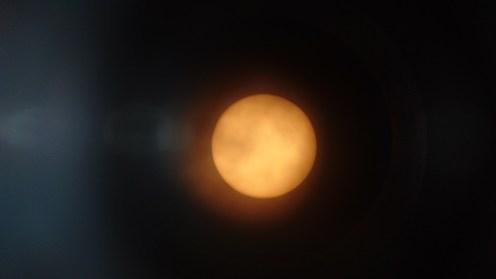 View of the sun through the solar telescope.