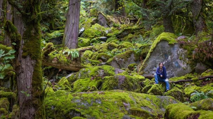 Mika McKinnon investigating a landslide near Harrison Hot Springs, BC. Photo: Dorien Gunnels