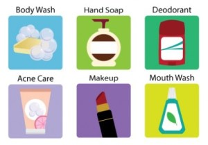 six icons depicting products which may contain triclosan