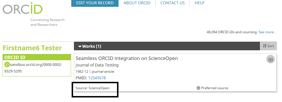 ScienceOpen source on ORCID