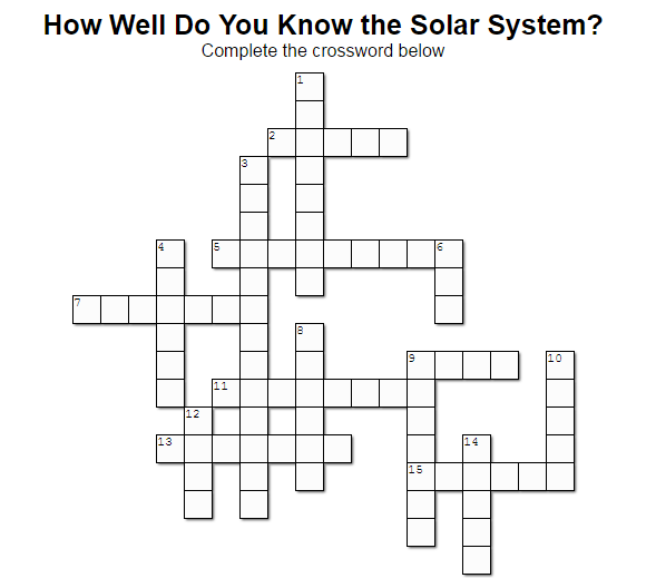 How Well Do You Know the Solar System? (Crossword Puzzle