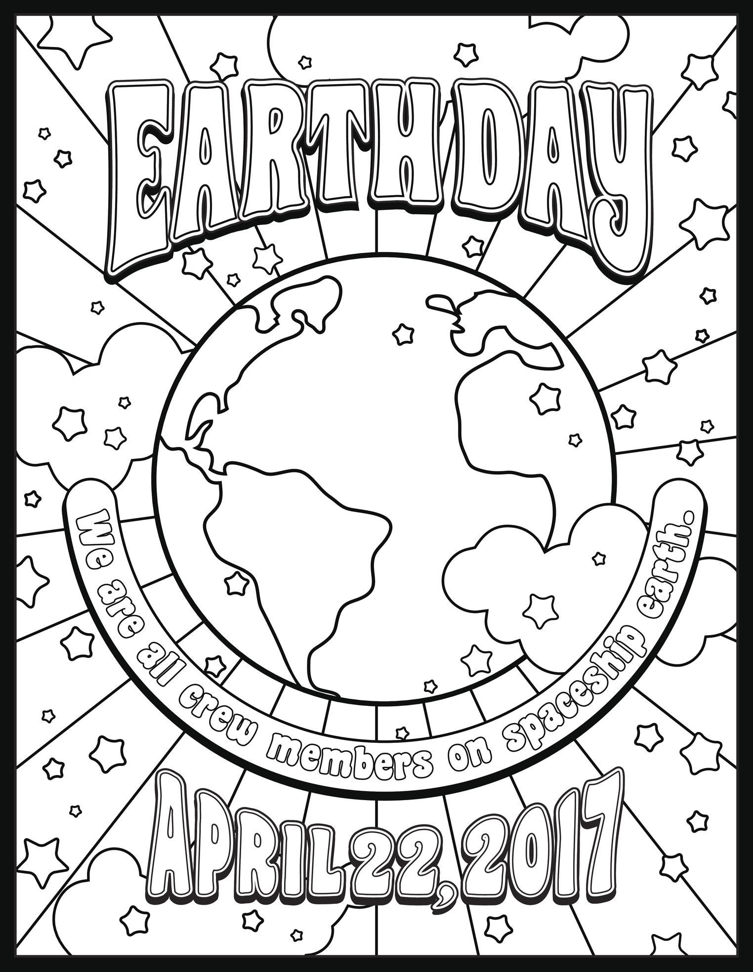 Happy Earth Day Printable Coloring Sheet