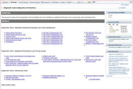 Diagnostic Tools Catalog (DOC ID 559339.1)