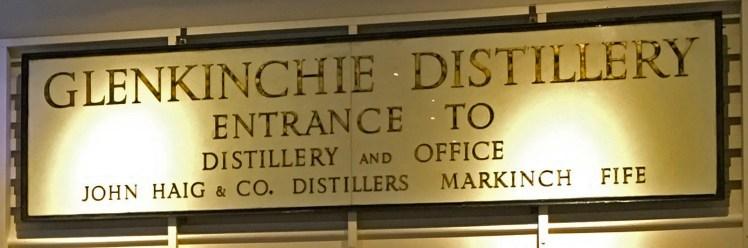 Entrance sign for Glenkinchie distillery