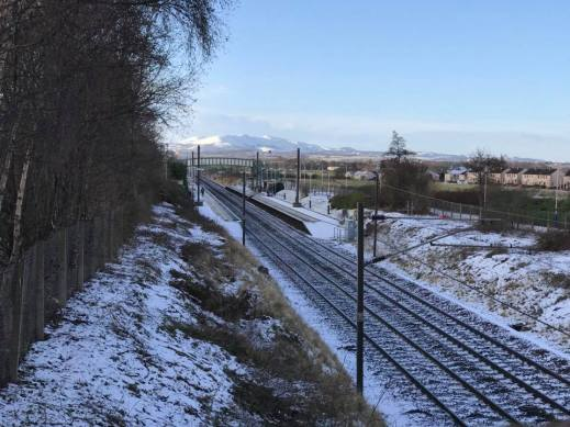 Snow topped hills, from Wallyford Station, by Gavin