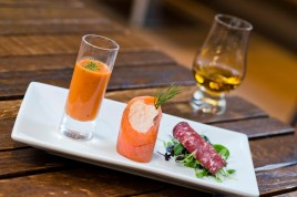 Smoked salmon canapes with Scotch whisky - Amber Restaurant, Edinburgh