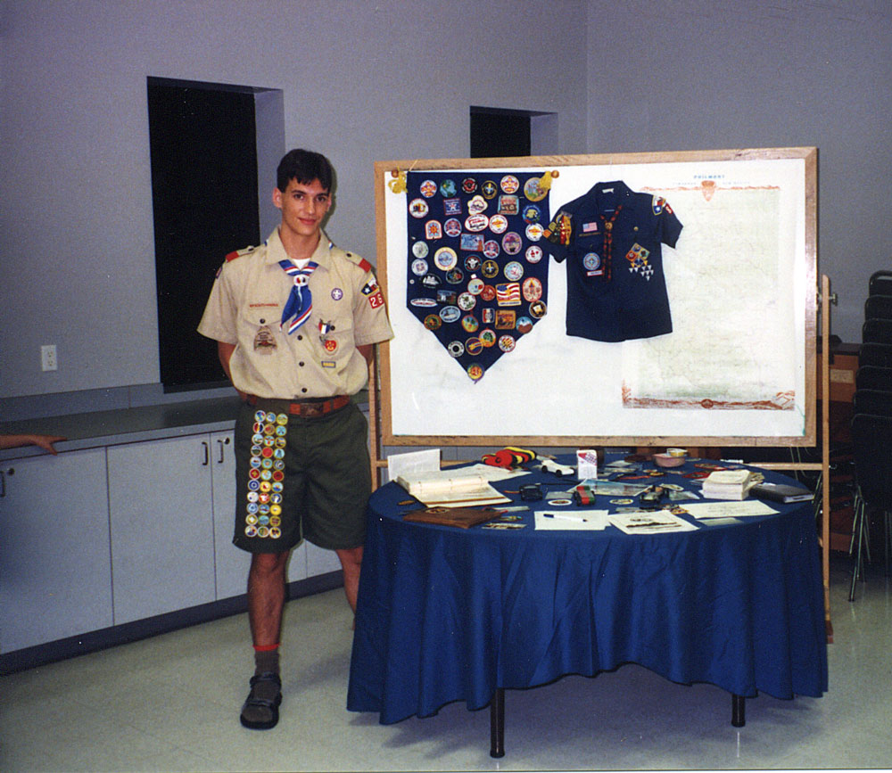 Austin poses during his Eagle Scout ceremony in 2003.