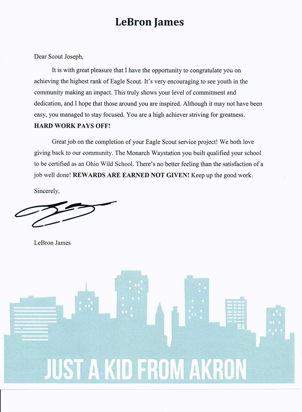 LeBron James Sent This Letter To A New Eagle Scout