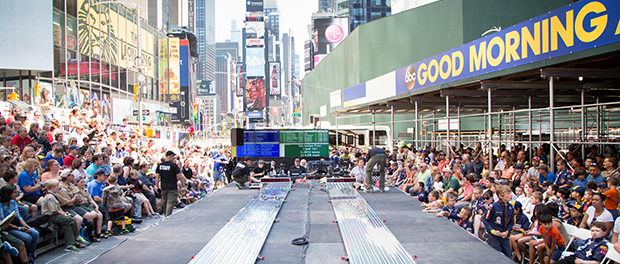 Cub Scouts Compete At An Epic Pinewood Derby Race In Times Square