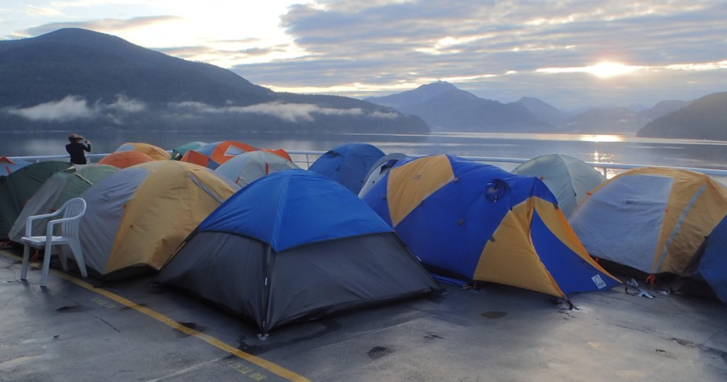 Troop 573, Woodinville, Wash., camped on the deck of an Alaskan State Ferry while it travels north on the Inside Passage
