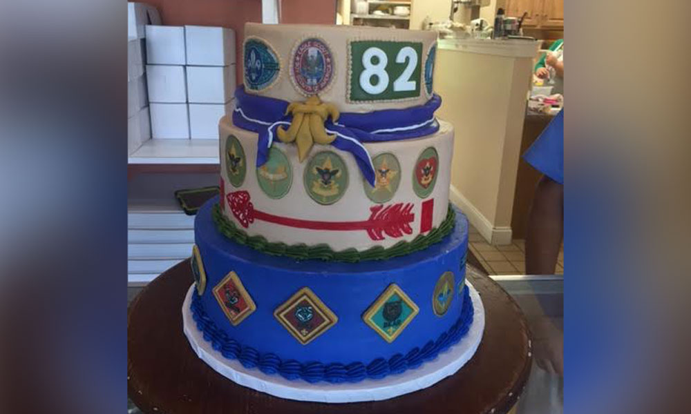 Via Tonia M Her Son Rileys Eagle Scout Cake Tells His Story Of Journey To It Includes The Purple Neckerchief From Germany Portugal