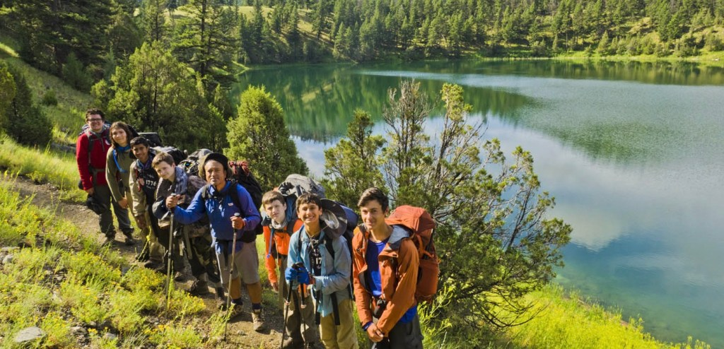 Scouts hiking in Yellowstone near lake