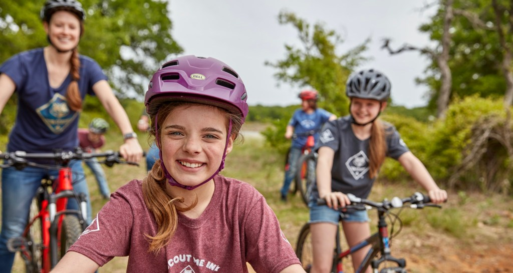 Cub Scouts riding bikes