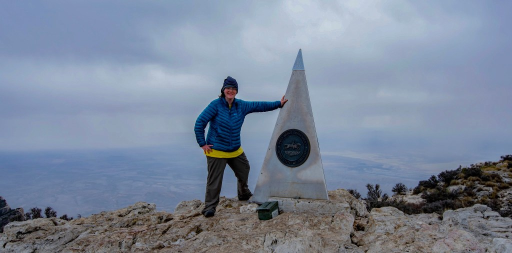 Jamie on the summit of Guadalupe Peak