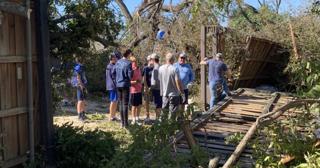 Troop 577 Scouts gather to serve