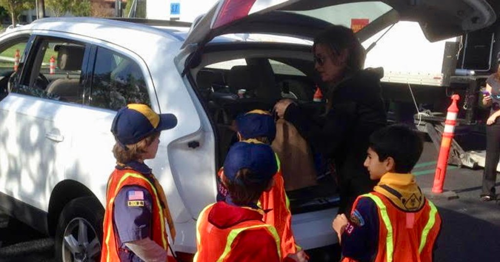 Scouts collect food from car