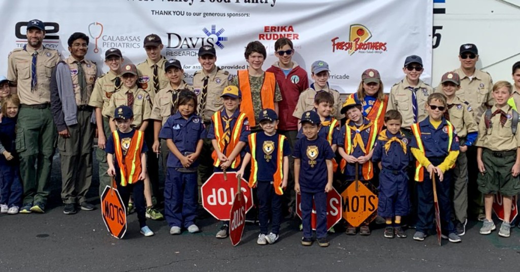 Scouts pose at food drive