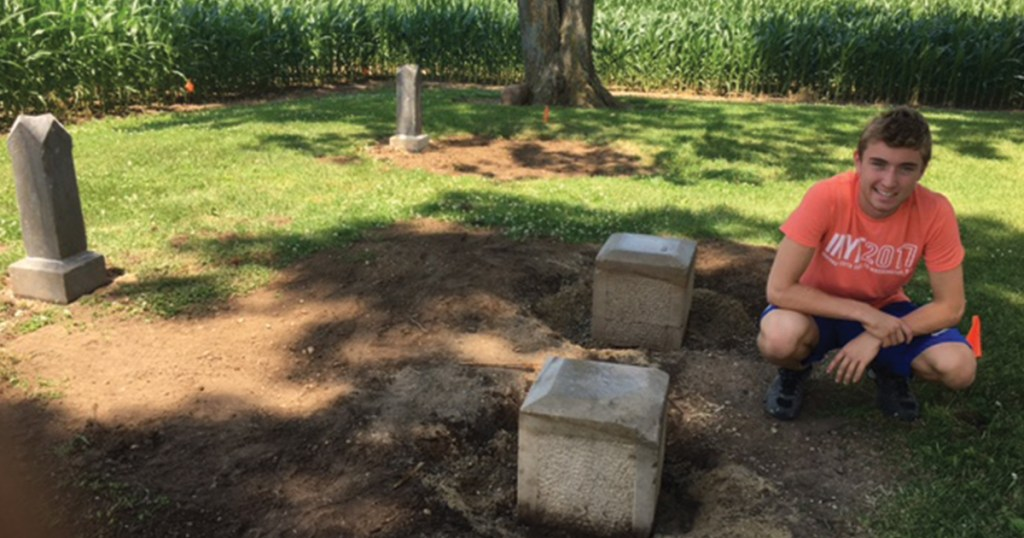 Indiana Scout restores community cemetery for Eagle Scout project