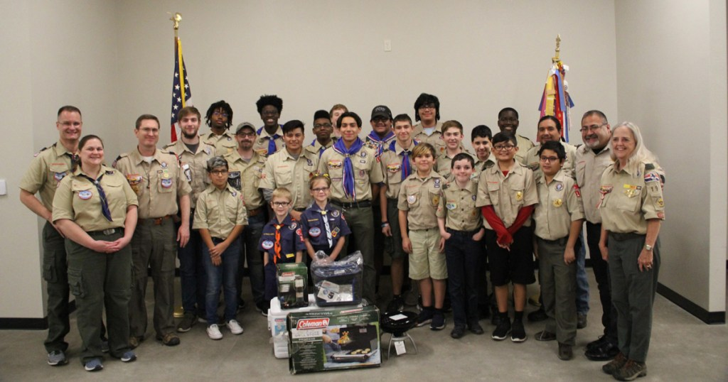 Ashley presents the gear to Troop 193