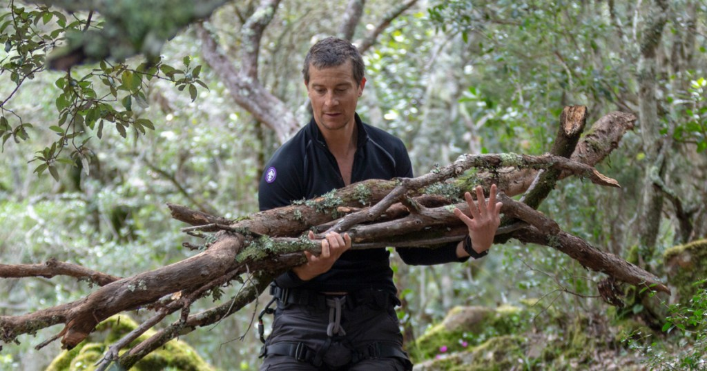 Why is Bear Grylls wearing a World Crest on his sleeve in his TV show 'Running Wild'?