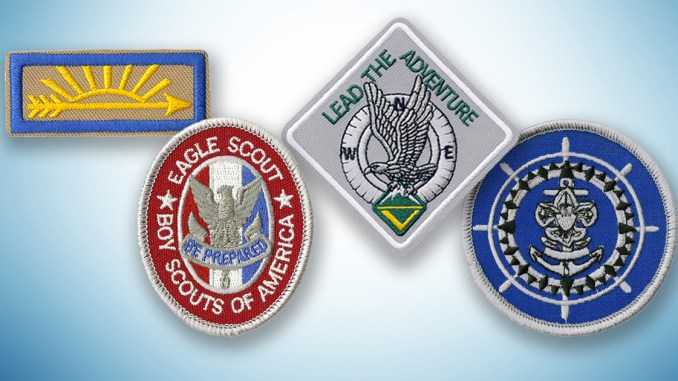 Insignia for the highest Scouting ranks: Arrow of Light, Eagle Scout, Summit Award and Quartermaster Award
