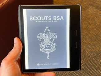 Testing the Scouts BSA Handbook on my Kindle e-reader.