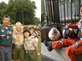 Left, from left: Caitlin Kagawa, Rick Kagawa, Debbie Kagawa and Sarah Breskman Battis at the 2005 National Jamboree. Right: Cosplay of Poe Dameron from Star Wars, made and worn by Caitlin Kagawa. (Poe Dameron photo by Salina Conlan)