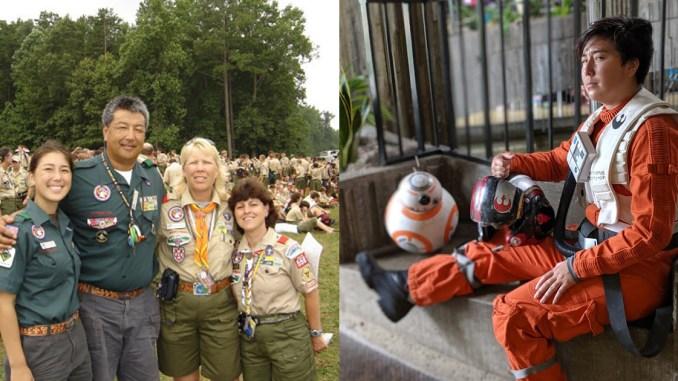 Left, from left: Caitlin Kagawa, Rick Kagawa, Debbie Kagawa and Sarah Breskman Battis at the 2005 National Jamboree. Right: Cosplay of Poe Dameron from Star Wars, made and worn by Caitlin Kagawa. (Poe Dameron photo by Salina Conlan)