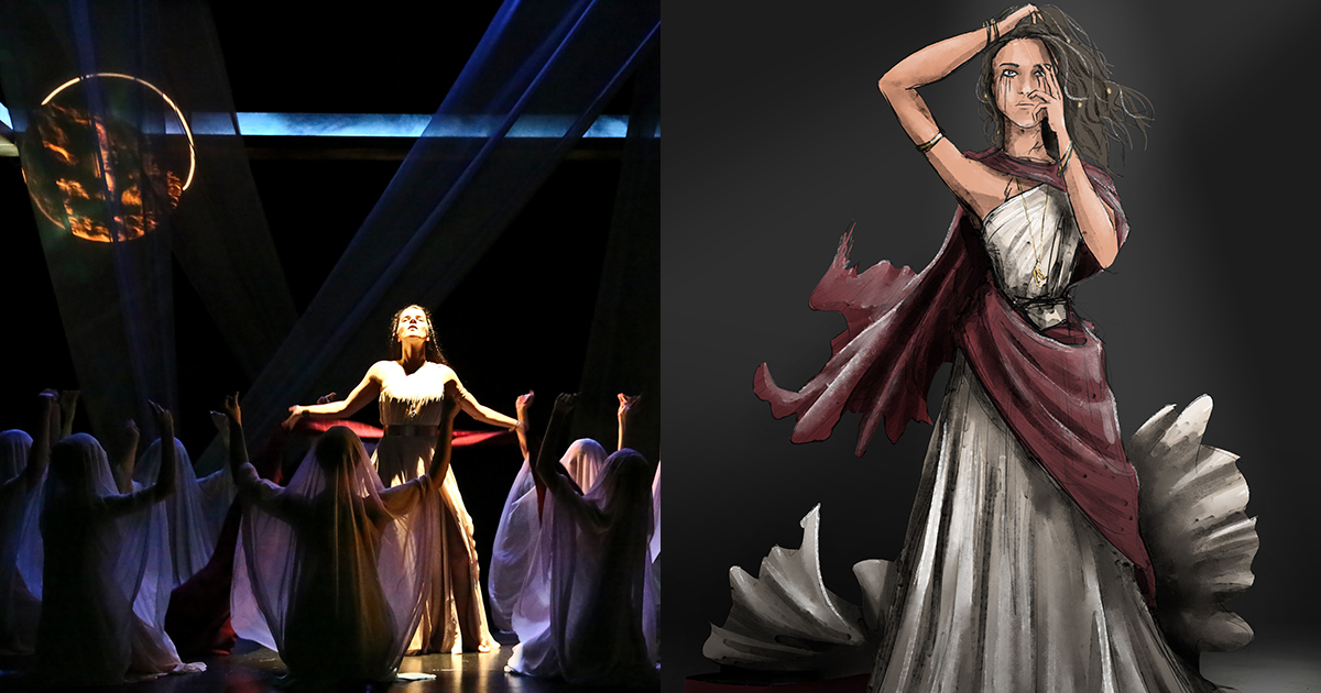 Kagawa designed the costume for UCLA's production of Medea, directed by Sylvia Blush. Seen here is a photo from the show by Michael Lamont and Kagawa's costume illustration.