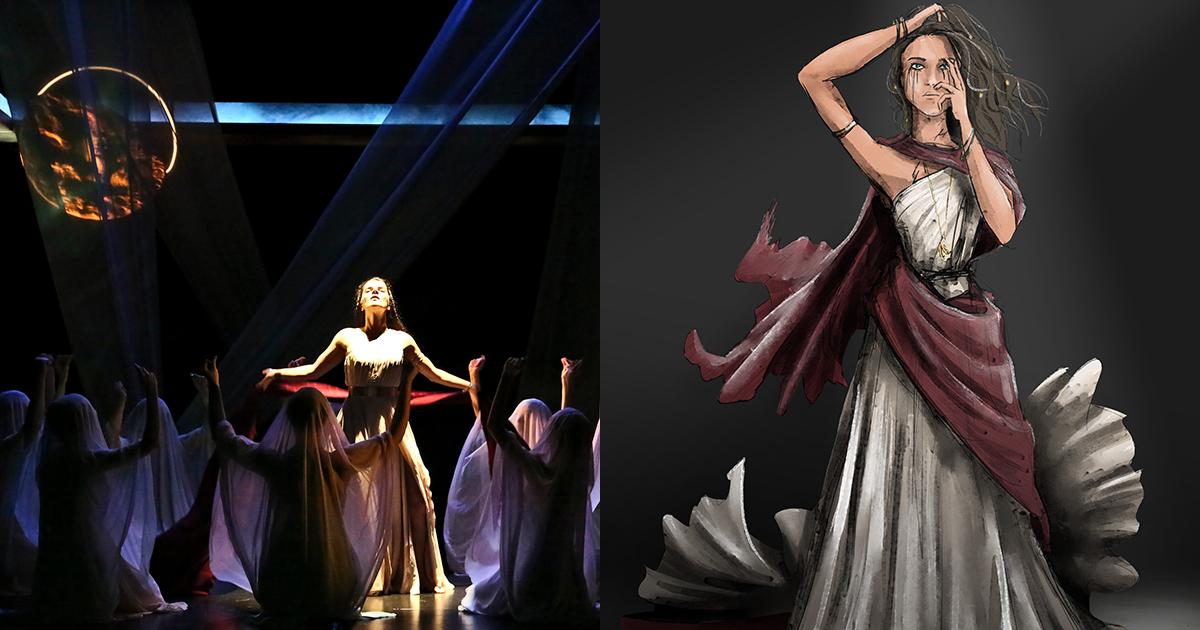 Kagawa merancang kostum untuk produksi Medea UCLA, disutradarai oleh Sylvia Blush. Yang terlihat di sini adalah foto dari pertunjukan oleh Michael Lamont dan ilustrasi kostum Kagawa.
